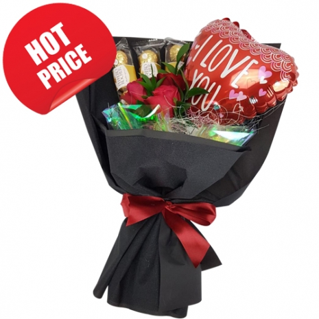 send bouquet of roses with chocolate and balloon to philippines