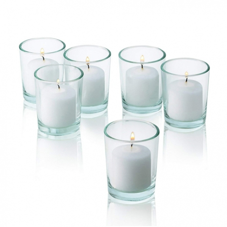 send 6 pcs plain white candle in glass holder to philippines