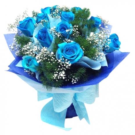 send 12 Pcs. light blue color roses bouquet to philippines