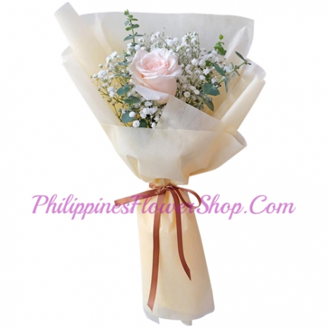 send single soft pink rose in bouquet to philippines