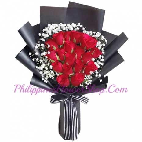 send 18 pcs. red color roses in bouquet to manila