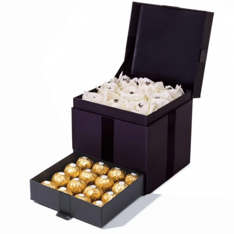 12 White Roses with 12 Ferrero Chocolates in a Box