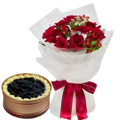 12 Red Roses with Blueberry 3 Cheese Can Cake