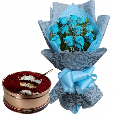 12 Blue Roses with Red Velvet Torte Can Cake