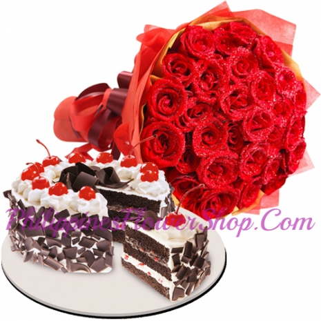 24 Red Roses with Black Forest Cake by Red Ribbon