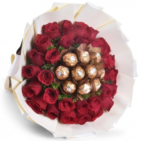 send 36 red roses with ferrero in bouquet to philippines