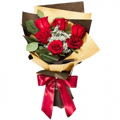 send half dozen red color roses in bouquet to manila