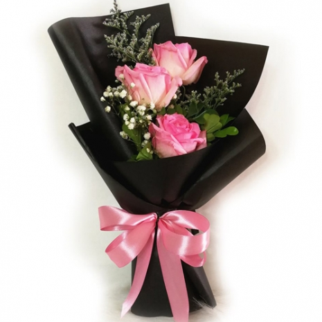 send 3 pcs. fresh pink ecuadorian roses bouquet to philippines