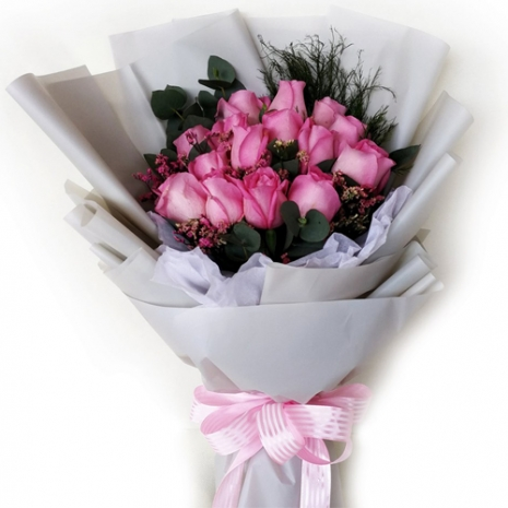 send 15 stems fresh pink roses in bouquet to philippines