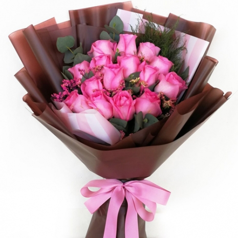 send 15 pcs. pink ecuadorian roses bouquet to philippines
