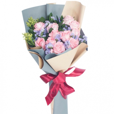 send classic 12 pink roses bouquet to philippines