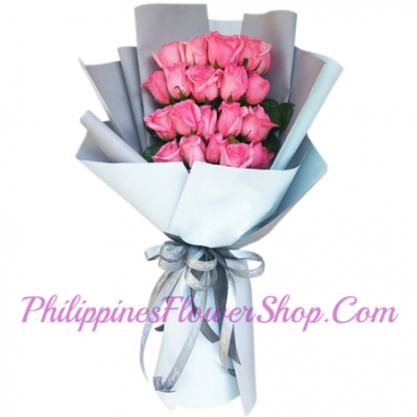 send classic 12 pink roses bouquet to manila