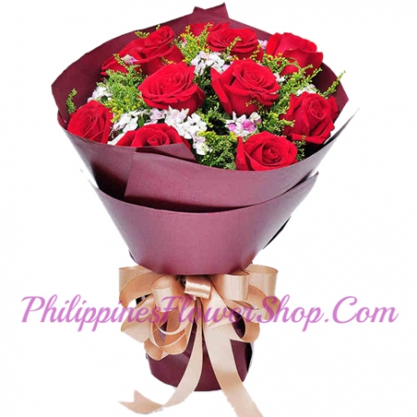 send mind harbor 12 red roses bouquet to manila