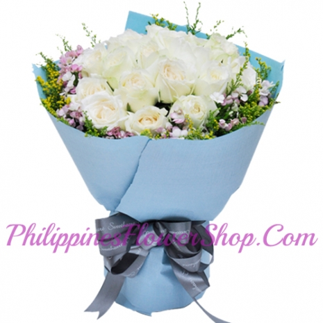 24 White Roses with Green leaves