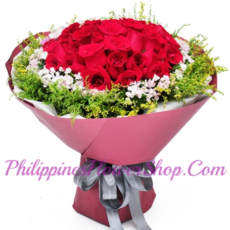 36 red roses with filler philippines