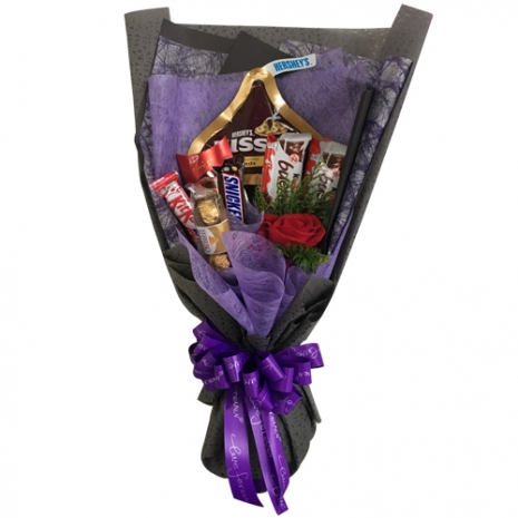send single roses with assorted chocolate in bouquet to philippines