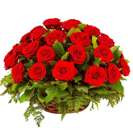 2 Dozen Red Color Roses in Basket