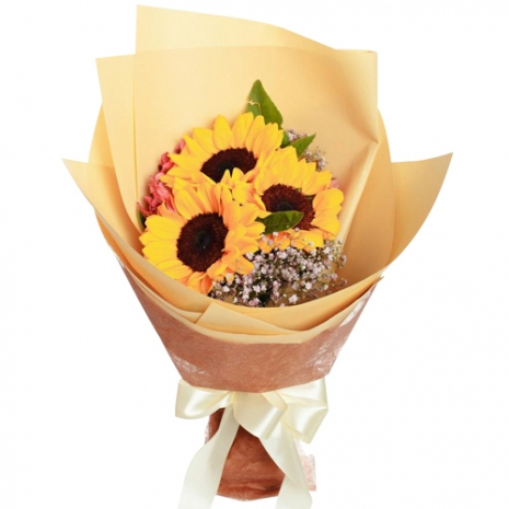 3 Pieces Long Stem Sunflowers Bouquet
