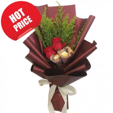 2 Pcs. Roses with 5 Pcs. Ferrero in Bouquet