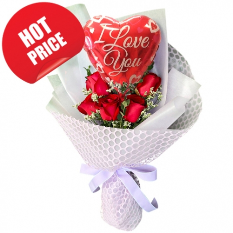 5 Red Roses with Balloon in Bouquet