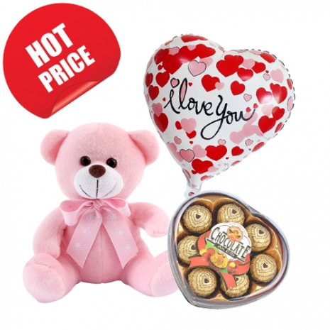 "8"" Teddy with Balloon and Chocolate Box"