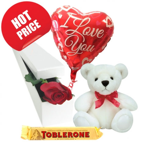 Single Rose with Small Bear, Chocolate with Balloon