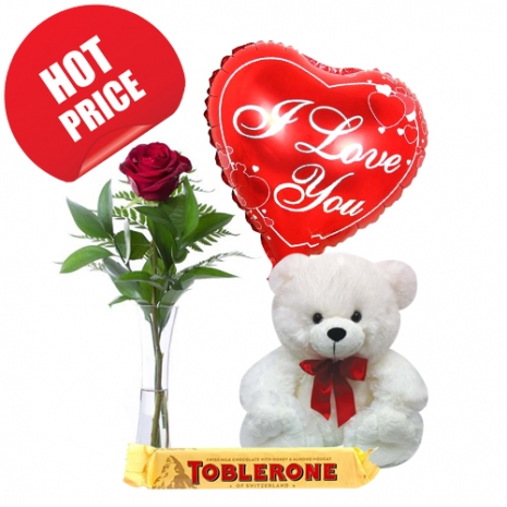 Rose Vase with Bear, Chocolate with Balloon