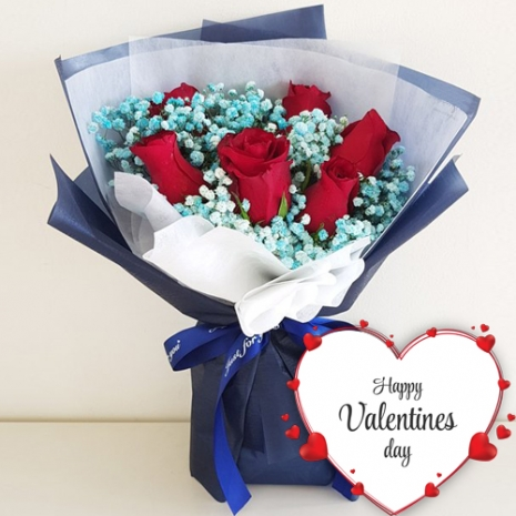 Valentine's 6 Stems Red Roses Bouquet
