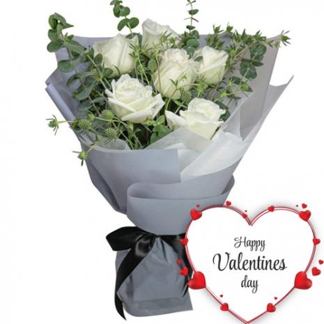 Half Dozen White V-Day Roses Bouquet
