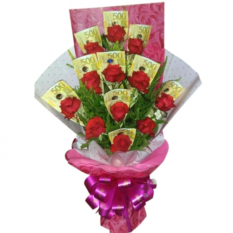 Money with 12 Red Roses in a Bouquet