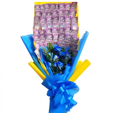 Money with 12 Blue Roses in a Bouquet