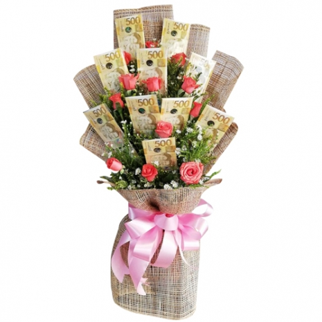 Money with 12 Pomelo Roses in a Bouquet