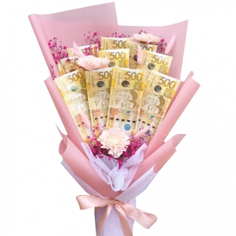 Money with 3 Pink Carnations in a Bouquet