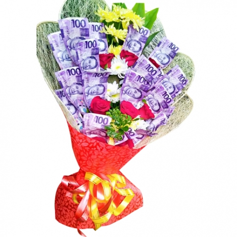 Money with 6 Pcs. Red Roses in a Bouquet