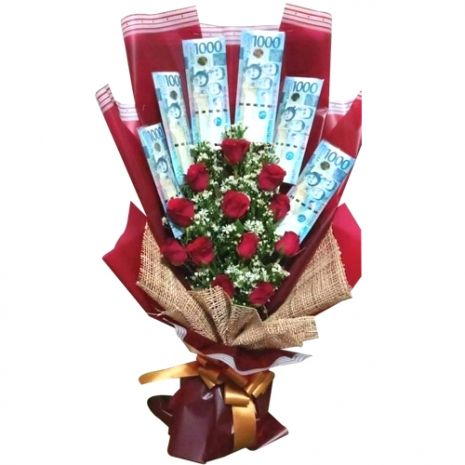 Dozen of Red Color Roses with Money in Bouquet