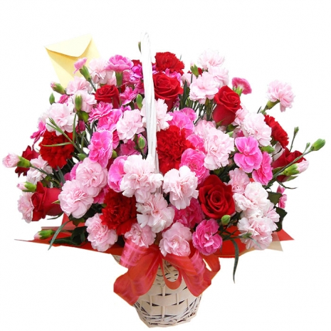 delivery 12 red roses mixed flowers basket to Philippines,pink white flowers send to manila Philippines