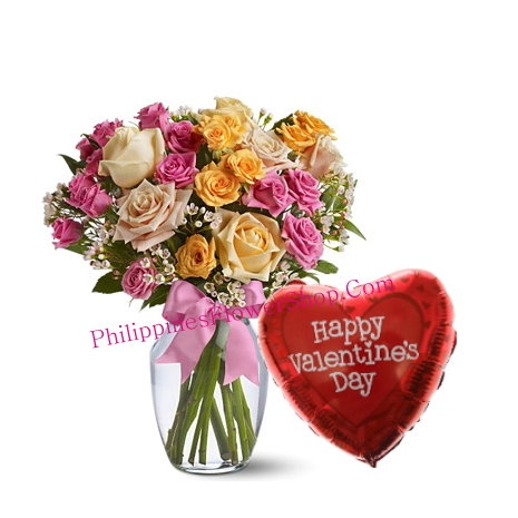 Send Mixed Roses with Valentines Balloon philippines