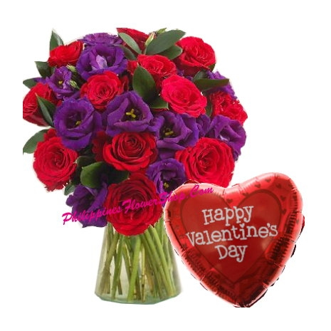 Delivery Mixed Flower with Valentines Day Balloon to philippines
