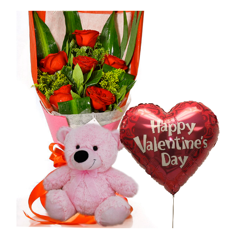6 Red Roses,Pink Bear with Valentine Balloon To Philippines