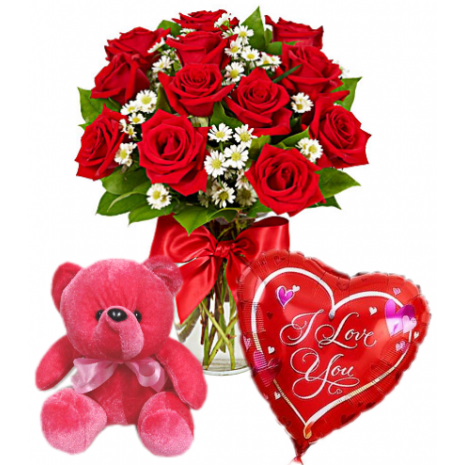 Red Roses Vase,Red Bear with Love U Balloon Delivery To Philippines