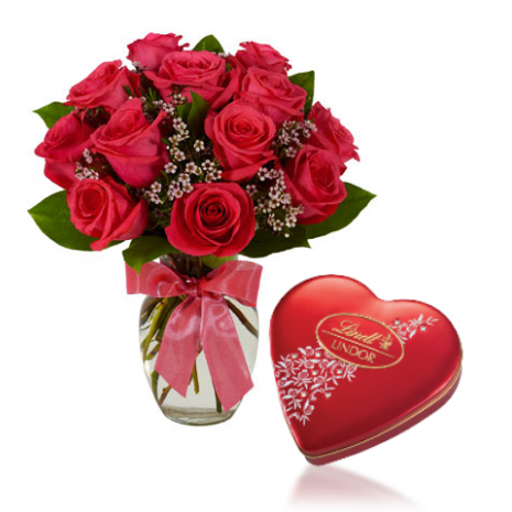 Red Roses vase with Lindt Chocolate To Philippines
