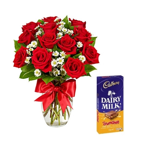 12 Red Roses vase with Cadbury Dairy Milk To Philippines