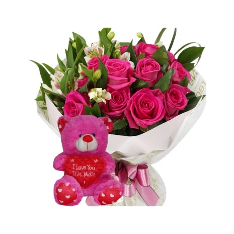 12 Pink Roses Bouquet with Pink Bear To Philippines