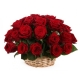 24 Red Color Roses in a Basket