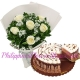 6 White Roses with Chocolate Mousse Cake