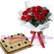 12 red roses with mocha dedication cake send to philippines