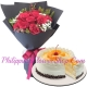 12 red roses with mango red ribbon cake send to philippines