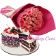 24 Pink Rose with Black Forest Cake by Red Ribbon