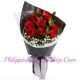 12 red roses with green leaves philippines