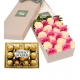 Sens 24 Red & Pink Roses Box with Ferrero Rocher Chocolate To Philippines